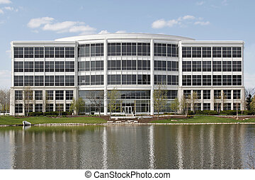 Office building with lake