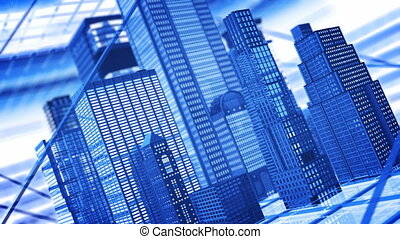 Office buildings - Abstract blue skyscrapers, seamlessly...