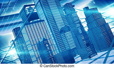 Office buildings - Abstract blue skyscrapers with bright...