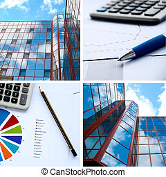 Office buildings and documents, business a collage