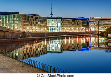 Office buildings at the river Spree in Berlin