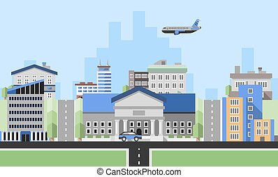 Office buildings background with business corporate city center houses flat background vector illustration