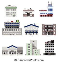Business modern urban office buildings flat decorative icons set isolated vector illustration