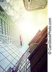 office buildings from below - highrise office buildings seen...