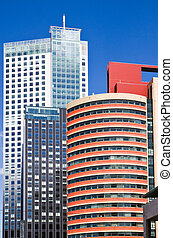 Office buildings - High office buildings with blue sky ...