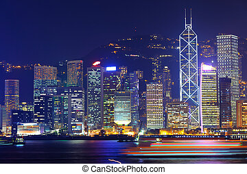 office buildings in Hong Kong at night