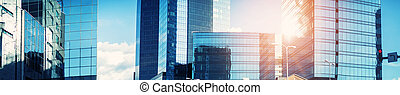 Office buildings panorama with beautiful sunlight
