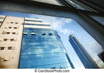 Office Buildings Through Window