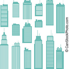 Vector illustration of several kind and sizes of office buildings.