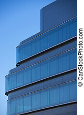 Office buildings with modern corporate architecture - business a