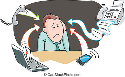 Office burnout information overload - Office worker,...