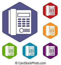 Office business keypad phone icons set