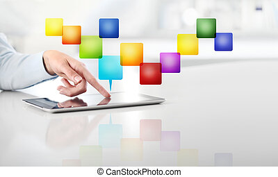 office business work concept, hand touch screen empty color icons of digital tablet, web banner and copy space template
