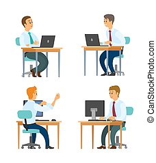 Office Business Workers at Desktops with Laptops