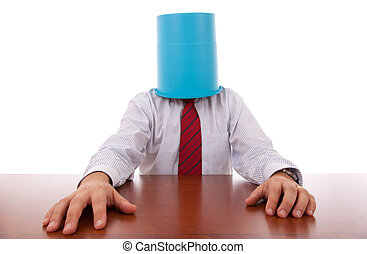 Office, businessman; head; hidden; isolated; Failure,stress; bucket, bizarre; hiding; trash, man; protection; hand; funny; odd; tie; hired; service; support;  employment;business; career; confusion;