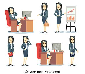 Office businesswoman in various situations vector characters...