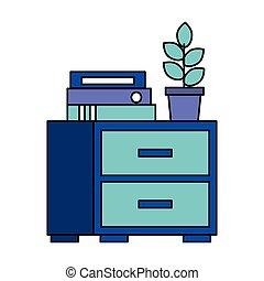 office cabinet binders potted plant
