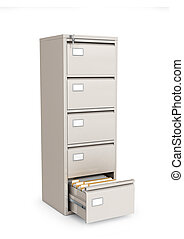office cabinet for documents with an open box. 3d illustration