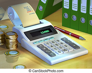 Office still-life showing a printer calculator, some coins and a group of document binders. Digital illustration.