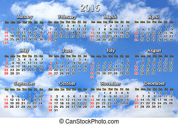 calendar for 2016 on the background of blue sky