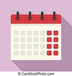 Office calendar icon, flat style