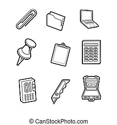office cartoon icon. Vector Illustration.. Collection set