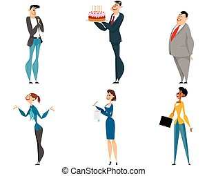 Office cartoon workers set