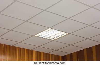 White office ceiling with built-in fluorescent lamp