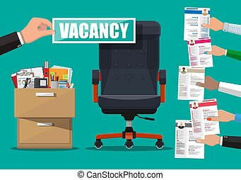 Office chair and sign vacancy in hand of boss. Hiring and...