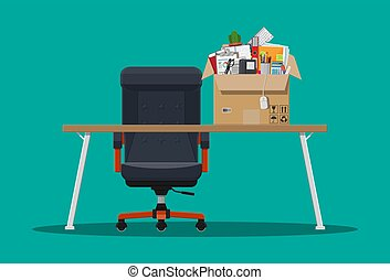 Office chair and table, box with office itmes