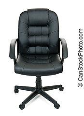Office chair - Black leather managers office swivel chair...
