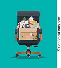 Office chair, box with office itmes