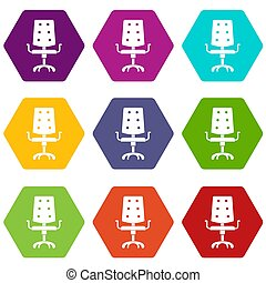 Office chair icon set color hexahedron