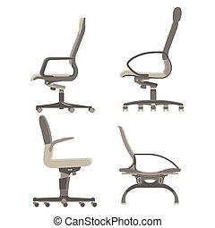 Office chair icon vector set business illustration furniture isolated design computer collection equipment