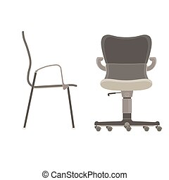 isometric office furniture vector collection. Office Chair Icon Vector Set Business Illustration Furniture Isolated Design Computer Collection Equipment Isometric
