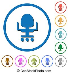 Office chair icons with shadows and outlines