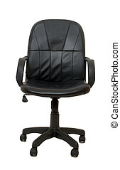 black office chair with wheels isolated