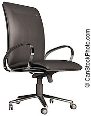 Office chair isolated over white 3d - Black leather office...