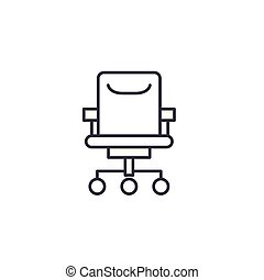 Office chair linear icon concept. Office chair line vector sign, symbol, illustration.