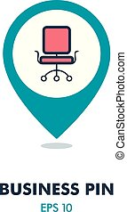 Office Chair outline pin map icon. Business sign