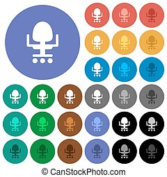 Office chair round flat multi colored icons