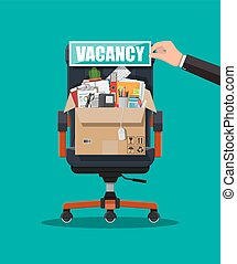 Office chair, sign vacancy, box with office goods