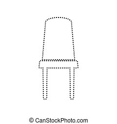Office chair sign. Vector. Black dotted icon on white background. Isolated.