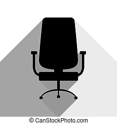 Office chair sign. Vector. Black icon with two flat gray shadows on white background.