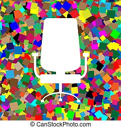 Office chair sign. Vector. White icon on colorful background wit