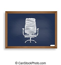 Office chair sign. White chalk icon on blue school board with sh