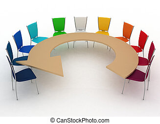 Office chairs at table as an arrow