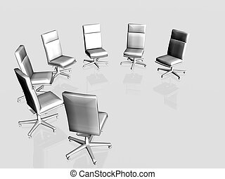 Office chairs over white. - Illustration, background of...