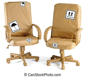 office chairs wrapped up in brown paper ready for a move isolated on a white background