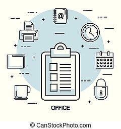 office checklist paper clock calendar printer file